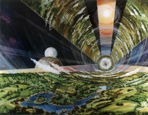 Vista interna in un disegno che mostra come potrebbe apparire un cilindro di O'Neill.